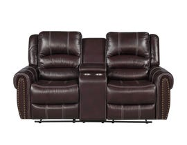 Fresh Leather Air Reclining Loveseat w/Console in Brown 6019