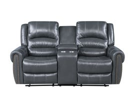 Fresh Leather Air Reclining Loveseat w/Console in Grey 6019