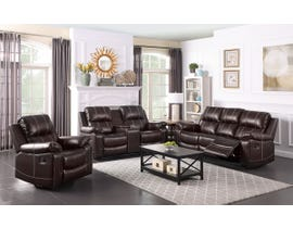 Fresh Leather Air Reclining Sofa Set in Brown 6020