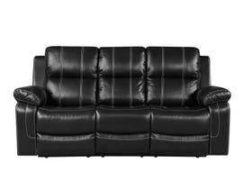 Fresh Leather Air Reclining Sofa in Black 6020