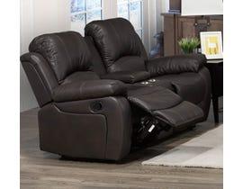 Brassex Boris Recliner Love Seat with Storage Console in Dark Brown 6060-L-CH
