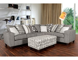 Minas Furniture House Fabric RHF Corner Sectional in Grey 6085