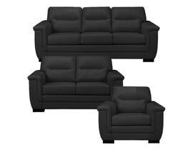 A&C Furniture 3-Piece Leather Look Sofa Set in Black 6150