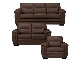 A&C Furniture 3-Piece Leather Look Sofa Set in Brown 6150
