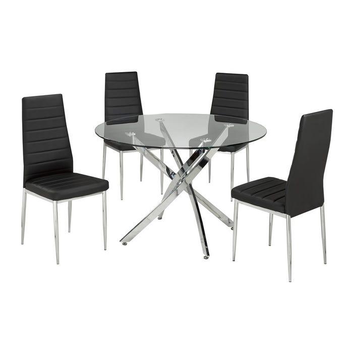 Brassex Meredith 5-piece kitchen dining set in black and silver 647-42