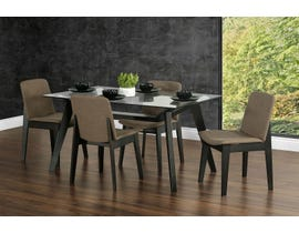 Primo International Miley Collection 5Pc Glass Dining Set in Dark Walnut 6470