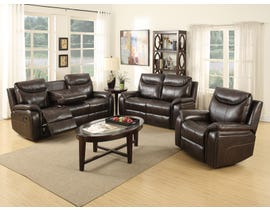 Kwality Courtney Collection 3-Piece Leather Look Reclining Sofa Set in Dark Brown 6491