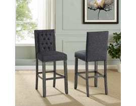 "Brassex Brooklyn Collection fabric tufted 29"" bar stool with nail-head trim (set of 2) in dark grey 651-29DGY"