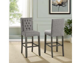 """Brassex Brooklyn Collection fabric tufted 29"""" bar stool with nail-head trim (set of 2) in light grey 651-29LGY"""