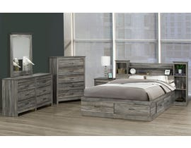 Modern Furniture Storage Bedroom Set in Suede Grey 6730