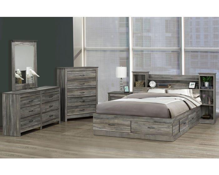 Modern Furniture 6pc Storage Bedroom Set in Suede Grey 6730-King