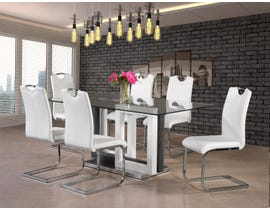 Mazin Furniture Yves Collection 7 Piece Glass Dining Set With White Chairs 6825