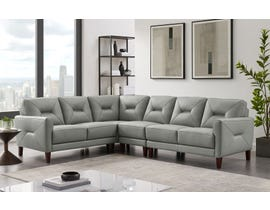 Amax Clooney Series 4pc Leather LHF Sectional in Grey 6925U