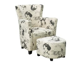 Brassex fabric club chair with ottoman in Marilyn Monroe and Audrey Hepburn print 710