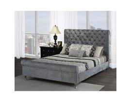 Brassex Victoria Platform Sleigh Queen Bed Frame Grey 7316Q-GREY
