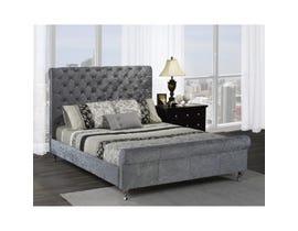 Brassex Victoria Platform Sleigh Queen Bed in Silver 7316Q-SIL