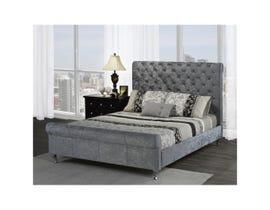 Brassex Victoria tufted queen platform bed in silver 7316Q-SIL