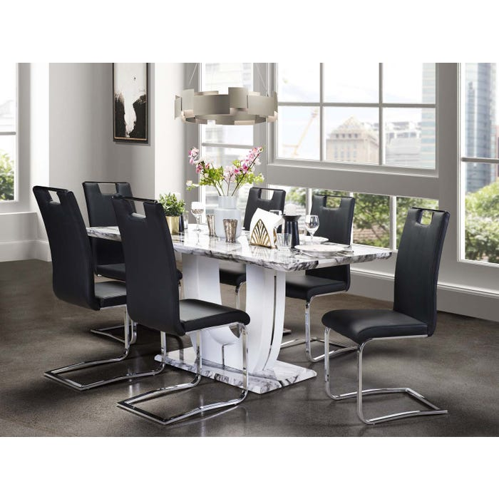 Mazin 7-Piece Dining Set with Marble Table and Black Chairs