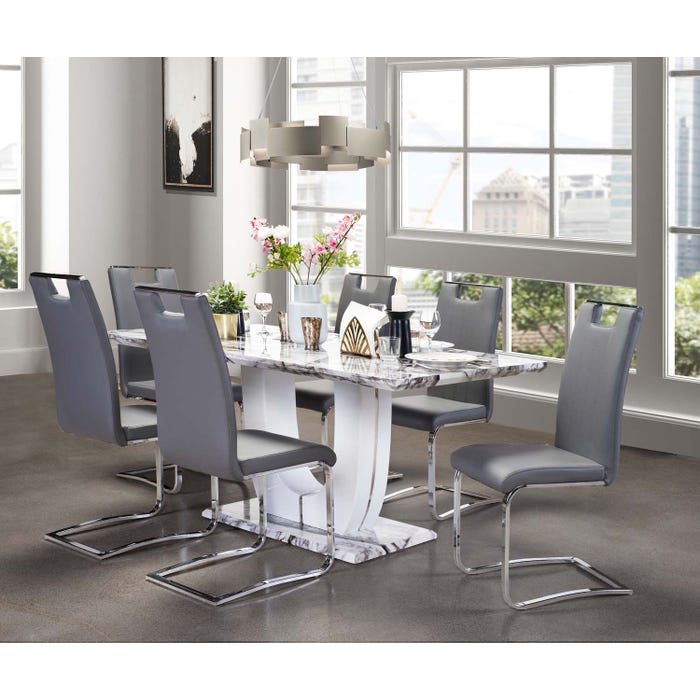 Mazin 7-Piece Dining Set with Marble Table and Grey Chairs 7409