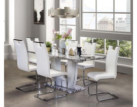 Mazin 7-Piece Dining Set with Marble Table and White Chairs 7409