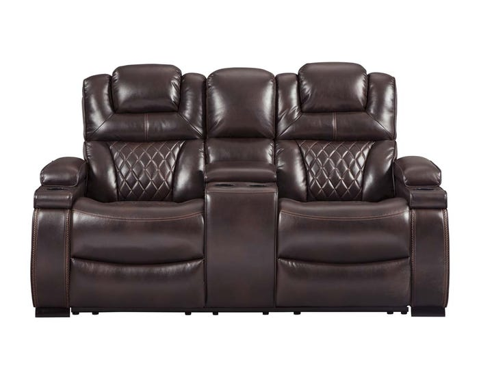Fantastic Signature Design By Ashley Power Reclining Loveseat With Console In Chocolate 7540718 Machost Co Dining Chair Design Ideas Machostcouk