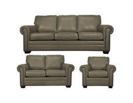 SBF Upholstery Leather Sofa Set in Cobblestone 7557