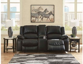 Signature Design by Ashley Calderwall Series DBL Rec Loveseat w/Console in Black 7710194