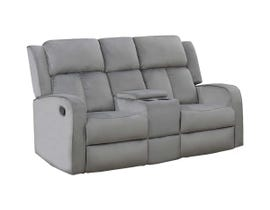 Kwality Hillsdale Series Reclining Loveseat with Console in Grey 7712