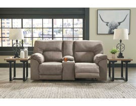 Signature Design by Ashley Cavalcade Series Double Reclining Power Loveseat w/Console in Slate 7760196