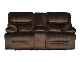 Signature Design by Ashley Brayburn Collection Fabric Power Reclining Loveseat in Brown 7770