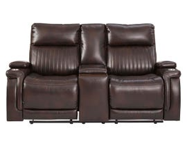 Signature Design by Ashley Team Time Series Power Reclining Loveseat w/Console and Adjustable Headrest in Chocolate 7830418