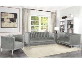 K-Living Arthur Velvet Suede Fabric 3pc Sofa Set with Metal Legs in Grey 19043