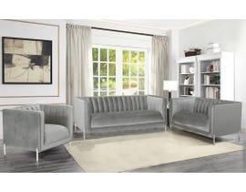 K-Living Arthur Velvet Suede Fabric 3pc Sofa Set with Metal Legs in Grey 19043