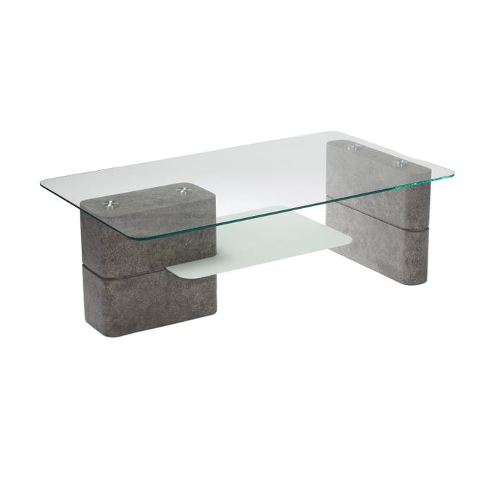 Chateau glass top coffee table with grey cement finish base 1205-50