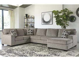 Ashley Ballinasloe Series 3pc RAF Fabric Sectional in Platinum 80702