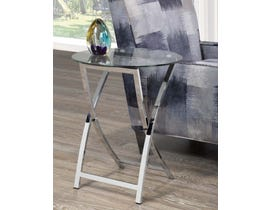 Brassex Cross Legs Accent Side Table in Chrome 8212