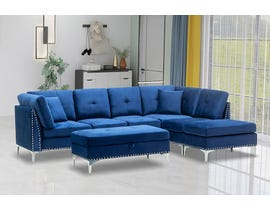 Kwality Cynthia Series 5pc Fabric Sectional Set in Blue 82301