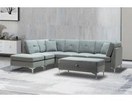 Kwality Cynthia Series 5pc Fabric Sectional Set in Grey 82301