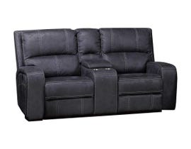 Kwality Perth Series Power Reclining Loveseat with Console in Stone Grey Blue 8279