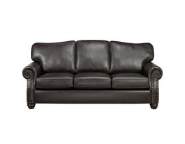 SBF Upholstery Heritage Leather-Air Sofa in Brown 8350
