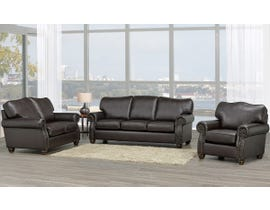 SBF Upholstery Heritage 3-Piece Leather-Air Living room set in Brown 8350