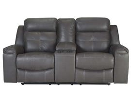 Signature Design by Ashley Reclining Loveseat with Console in Dark Gray 8670594