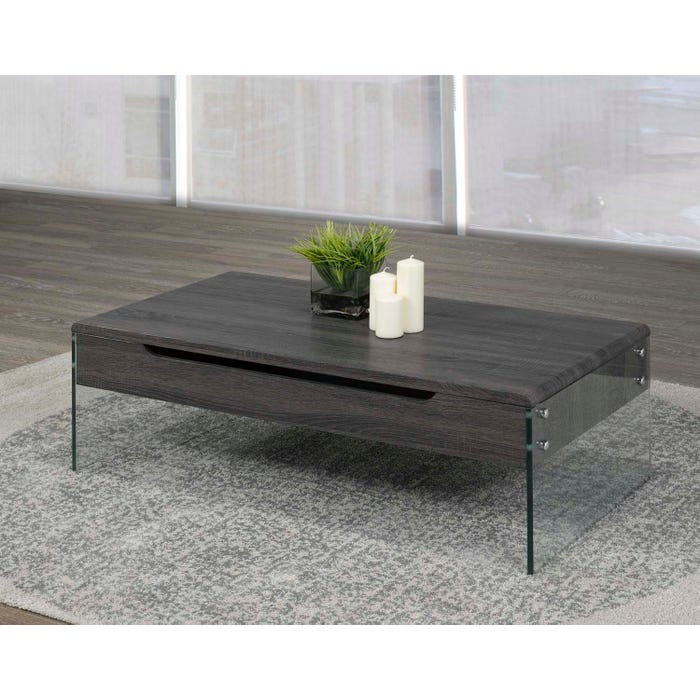 Brassex Storage Coffee Table with Tempered Glass in Dark Grey 870-02