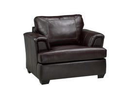 Sofa Express by Fancy Henley Leather Chair in Zurick Cranberry Brown 9005