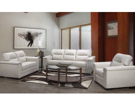 A&C Furniture 3-Piece Leather Look Sofa Set in Grey 6150