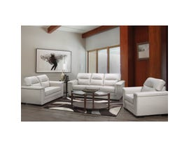A-Class 3-Piece Leather Sofa Set in Grey 6150