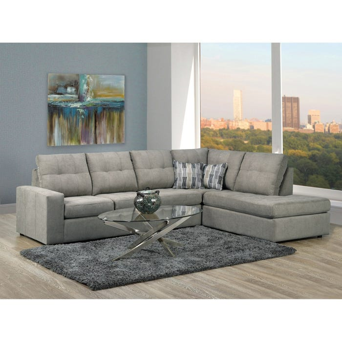Sofa by Fancy Coral Collection Fabric Sectional Sofa in Granite Grey 9883