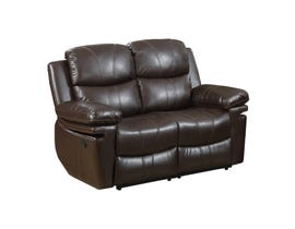 Norwich Leather Look Reclining Love seat in Dark Brown