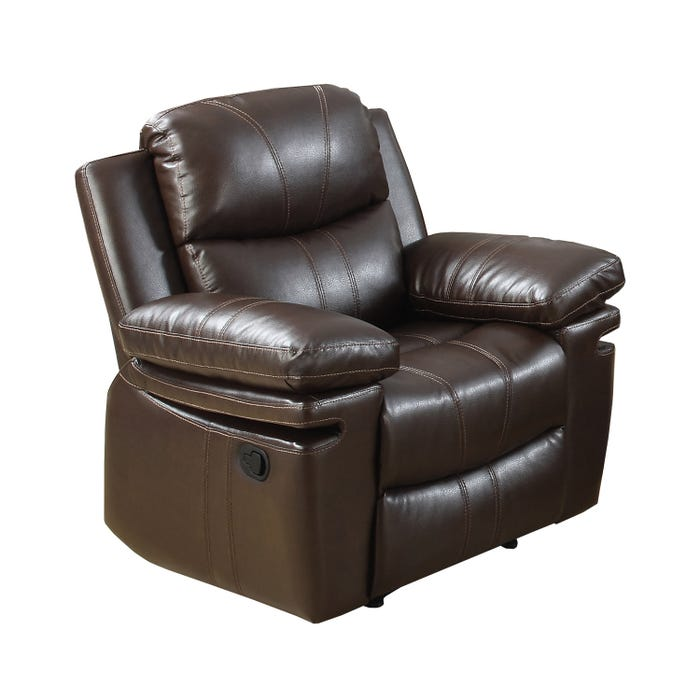 Norwich Leather Look Recliner Chair in Dark Brown