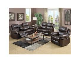 Norwich 3-Piece Leather Look Recliner Sofa w/Drop Down Table in Dark Brown